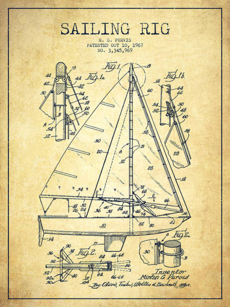Patent Application Wall Art - Digital Art - Sailing Rig Patent Drawing From 1967 - Vintage by Aged Pixel