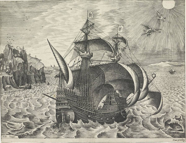 Wall Art - Drawing - Sailing Ship With The Fall Of Icarus, Frans Huys by Frans Huys