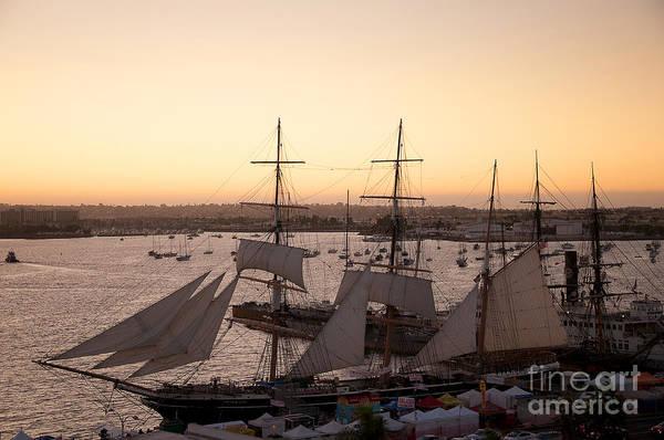 Photograph - Sailing Ships In Setting Sun by Brenda Kean