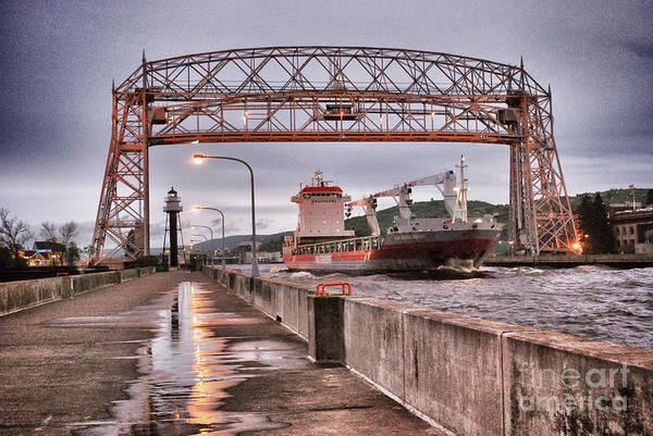 Lift Photograph - Sailing Through The Duluth Aerial Lift Bridge by Mark David Zahn Photography