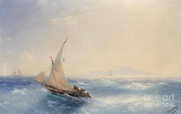 Wall Art - Painting - Shipping Off The Island Of Ischia by Viktor Birkus