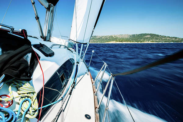 Luxury Yacht Photograph - Sailing With Sailboat by Mbbirdy