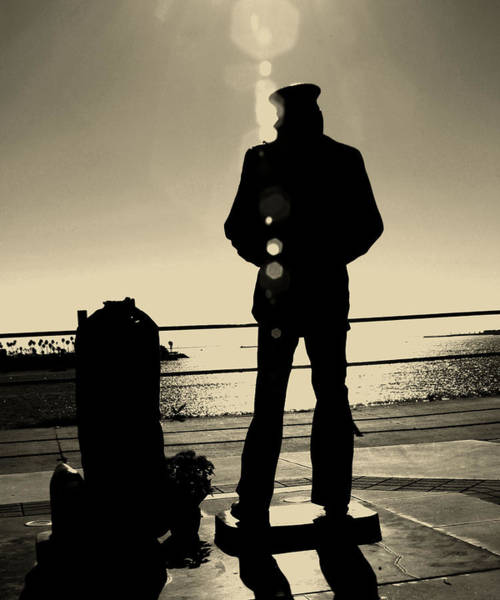 Sailor Statue Over Long Beach Harbor Art Print