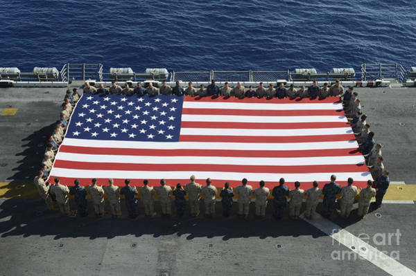Us Marines Photograph - Sailors And Marines Display by Stocktrek Images