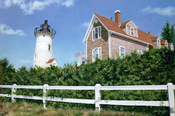 Mooring Painting - Sailors Gift - Nobska Lighthouse by Julia O'Malley-Keyes