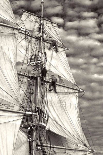 Photograph - Sailors In Rigging Of Tall Ship by Cliff Wassmann