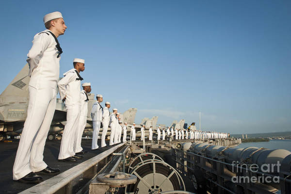 Flight Deck Photograph - Sailors Man The Rails Of Uss Nimitz by Stocktrek Images