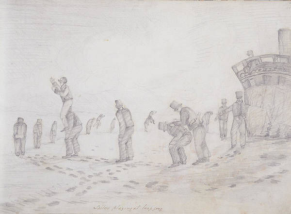 Sailors Playing At Leap Frog, From Sketches Of The Second Parry Arctic Expedition, 1821-2 Graphite Art Print