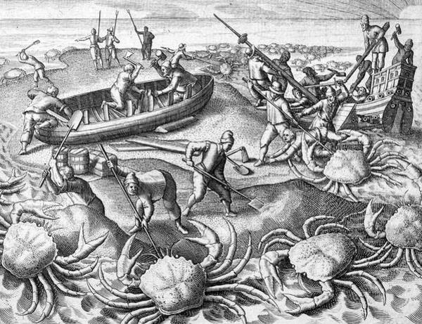 Folklore Drawing - Sailors, Shipwrecked On Their  Way by Mary Evans Picture Library