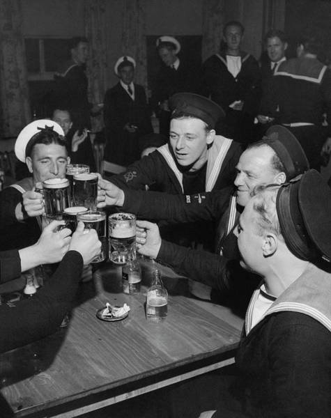 Fun Photograph - Sailors Toasting In Celebration Of Victory by Jacob Lofman