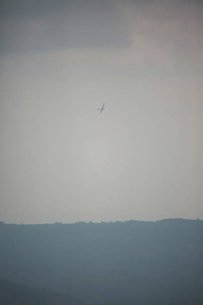 Glider Wall Art - Photograph - Sailplane In Front Of Dull Hazy Sky by Sebastian Kujas