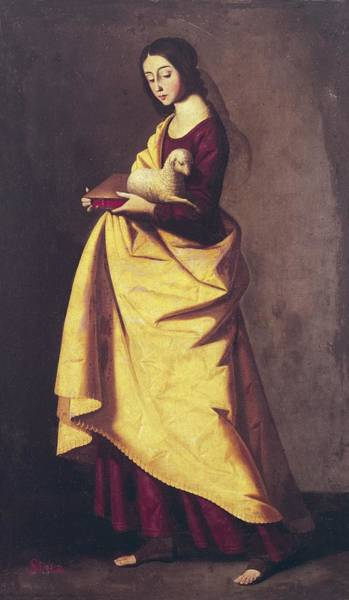 Ovine Photograph - Saint Agnes. Painting From Zurbarans by Everett