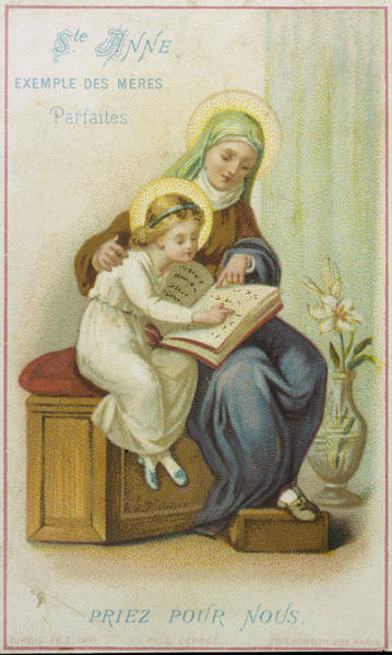 Wall Art - Drawing - Saint Anne Teaches Mary, The  Future by Mary Evans Picture Library