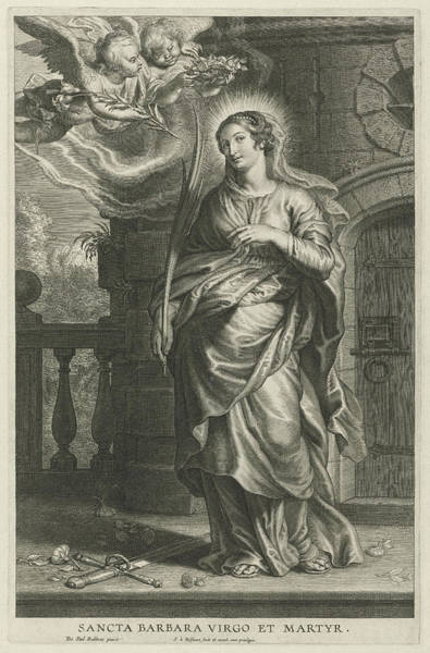 Wall Art - Drawing - Saint Barbara As Martyr by Schelte Adamsz. Bolswert