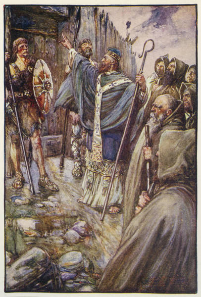 5a9c744a0 Heathen Wall Art - Drawing - Saint Columba Irish Saint Arrives by Mary  Evans Picture Library