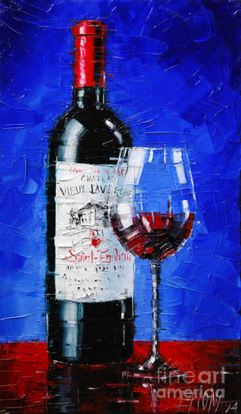 Wall Art - Painting - Still Life With Wine Bottle And Glass II by Mona Edulesco