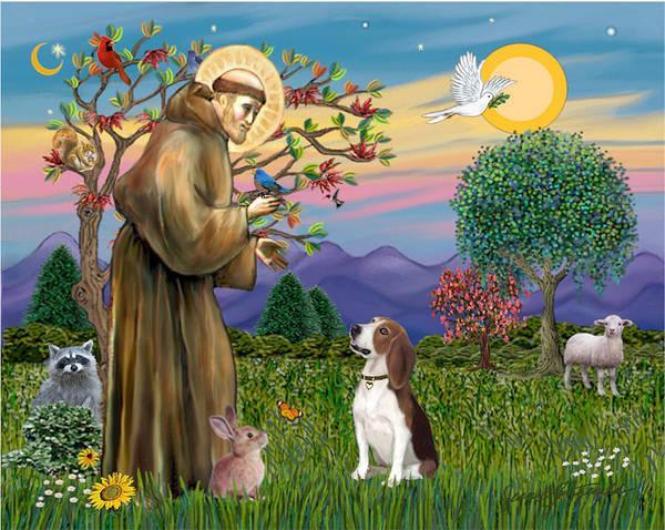 Saint Francis Blesses A Beagle Art Print