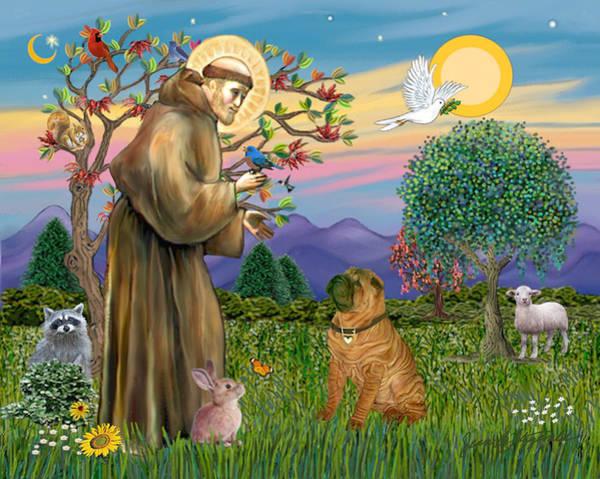 Saint Francis Blesses A Chinese Shar Pei Art Print