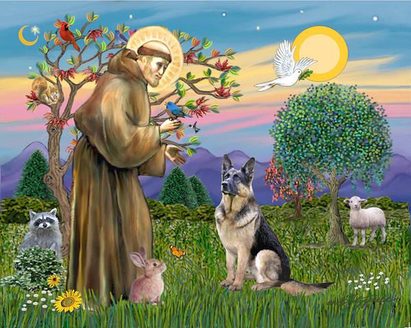 Saint Francis Blesses A German Shepherd Art Print