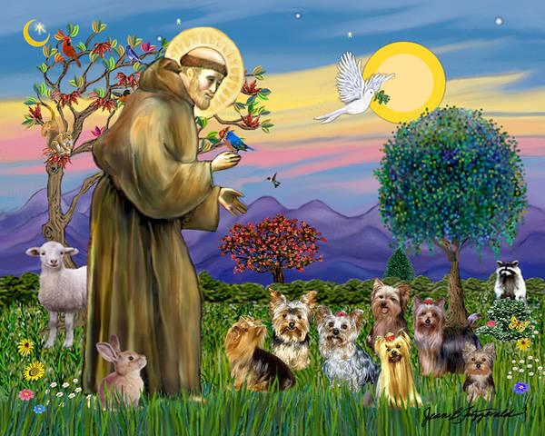 Saint Francis Blesses Seven Yorkies Art Print