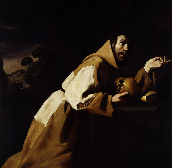Kneeling Painting - Saint Francis In Meditation by Francisco de Zurbaran