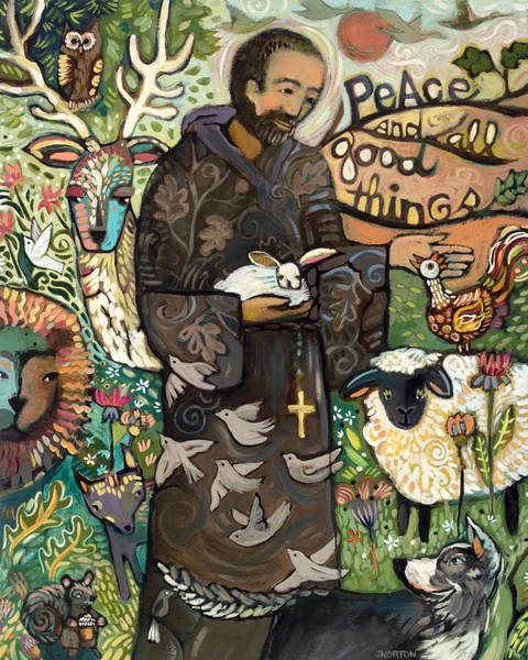 Folk Painting - Saint Francis by Jen Norton