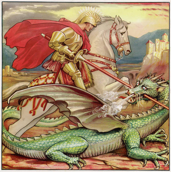 Wall Art - Drawing - Saint George  Slays The Dragon by Mary Evans Picture Library