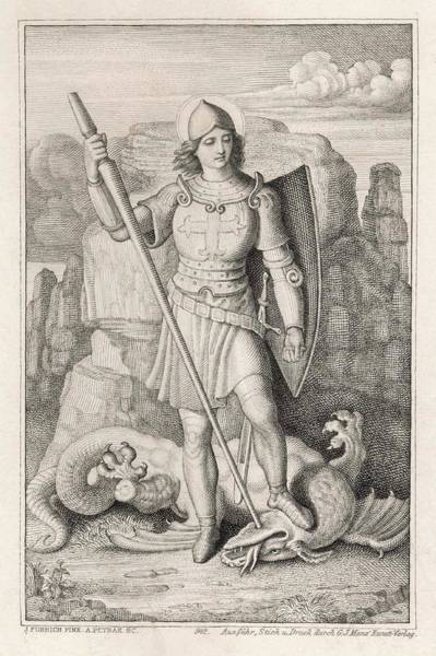 Wall Art - Drawing - Saint George With His Foot On The Neck by Mary Evans Picture Library