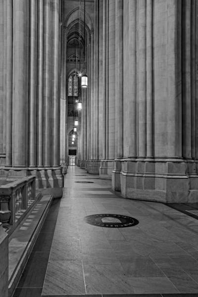 Photograph - Saint John The Divine Cathedral Columns Bw by Susan Candelario