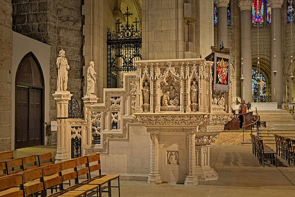 Photograph - Saint John The Divine Cathedral Pulpit by Susan Candelario