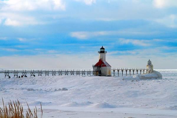 Wall Art - Photograph - Saint Joseph Lighthouse Fresh Snow by Dan Sproul