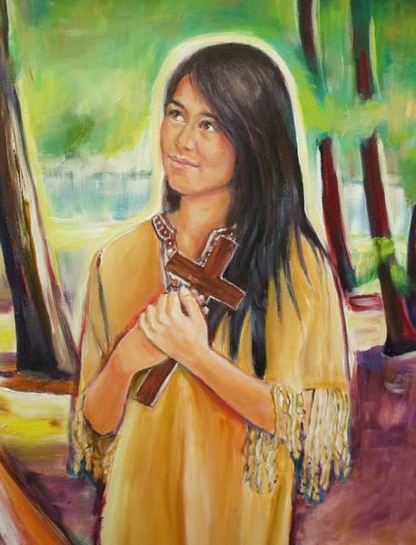 Miracle Painting - Saint Kateri Tekakwitha Version II by Sheila Diemert