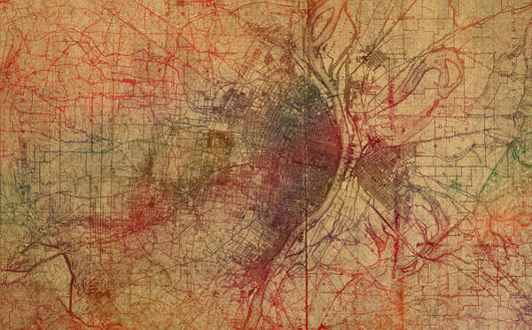 St Mixed Media - Saint Louis Missouri Street Map Schematic Watercolor On Old Parchment From 1903 by Design Turnpike