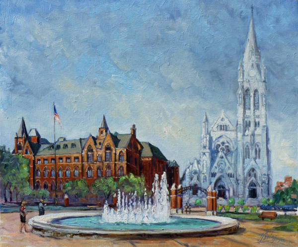College Campus Painting - Saint Louis University And College Church by Irek Szelag