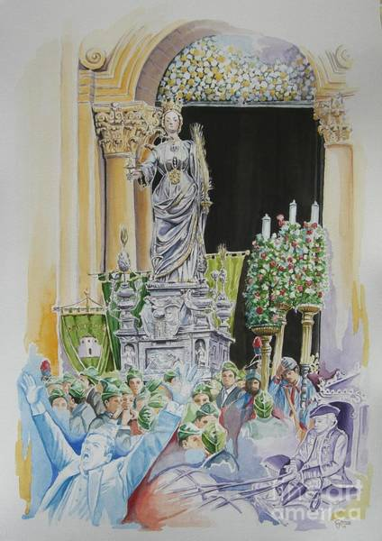 Saint Lucia Painting - Saint Lucia's Procession In Syracuse by Gina Pardo