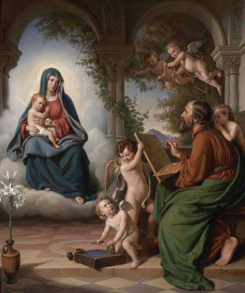 Sacred Heart Wall Art - Painting - Saint Luke by Theobald Reinhold Freiherr von Oer