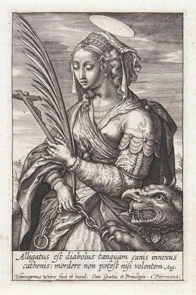 Wall Art - Drawing - Saint Margaret Of Antioch, Hieronymus Wierix by Hieronymus Wierix
