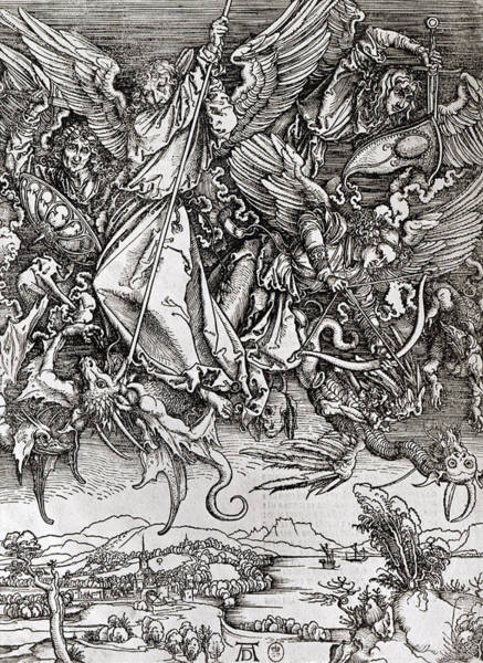Wall Art - Drawing - Saint Michael And The Dragon by Albrecht Durer or Duerer