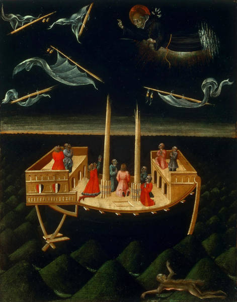 Saving Painting - Saint Nicholas Of Tolentino Saving A Ship by Giovanni di Paolo