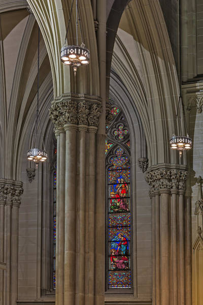 Photograph - Saint Patrick's Cathedral Stained Glass Window by Susan Candelario