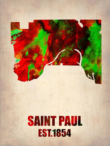 Saint Wall Art - Painting - Saint Paul Watercolor Map by Naxart Studio