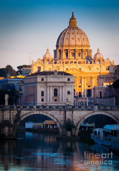 Tiber Wall Art - Photograph - Saint Peter's Dawn by Inge Johnsson