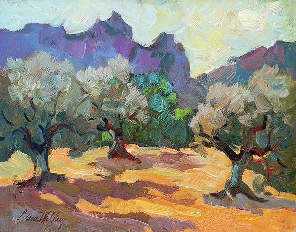 Desert Scene Painting - Saint Remy Olive Trees by Diane McClary