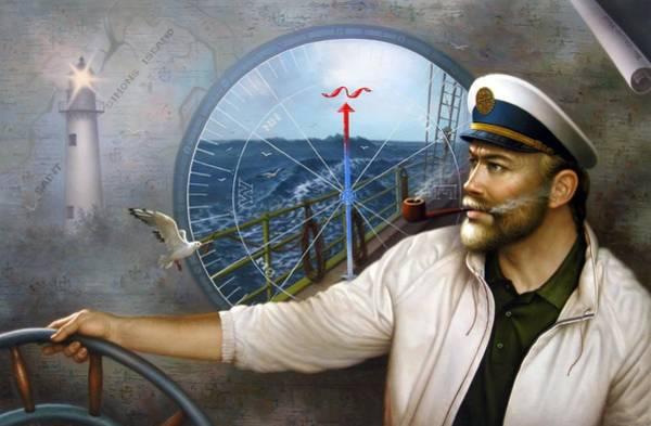 Rudder Painting - Saint Simons Island Map Captain 3 by Yoo Choong Yeul