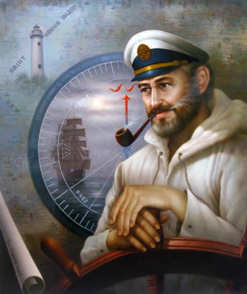 Rudder Painting - Saint Simons Island Sea Captain 1 by Yoo Choong Yeul