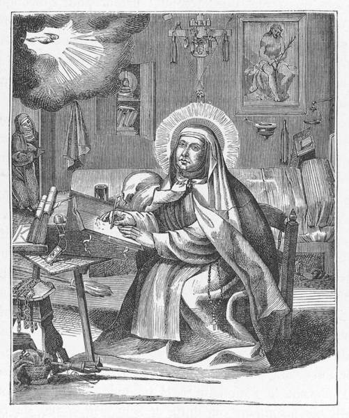 The Mystic Drawing - Saint Teresa Of Avila Spanish Mystic by Mary Evans Picture Library