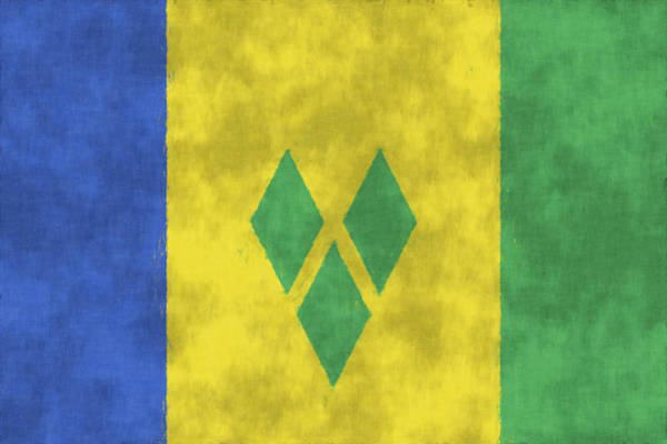 Wall Art - Digital Art - Saint Vincent And The Grenadines Flag by World Art Prints And Designs