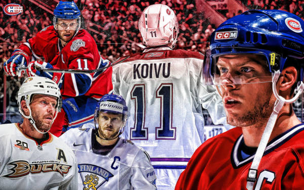 Montreal Canadiens Digital Art - Saku Koivu Print by Nicholas Legault
