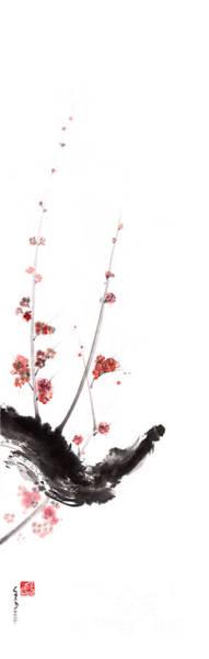 Sumi Wall Art - Painting - Sakura Cherry Blossom Orange Pink Red Flowers Tree Watercolor Original Ink Painting by Mariusz Szmerdt