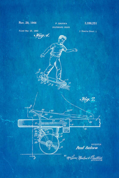 Skater Photograph - Sakwa Skateboard Brake Patent Art 1966 Blueprint by Ian Monk